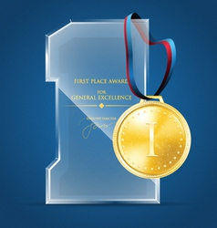 Glass award and a gold medal vector image vector image
