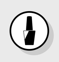 Nail polish sign flat black icon in white vector