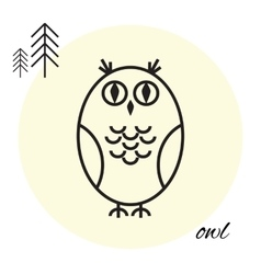 Owl thin line icon vector