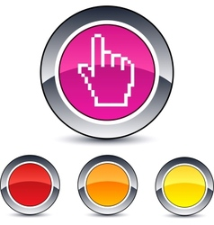 pixel hand round button vector image