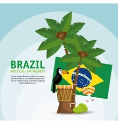 Poster brazil macaw drum palm flag vector