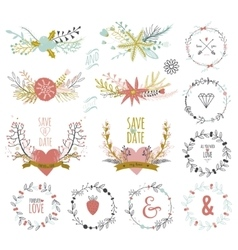 Romantic hand drawn collection of laurels wreaths vector image vector image