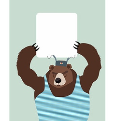 Russian bear is holding a plate vector