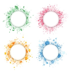 Seasonal round frame set vector