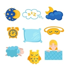 Sleep time flet icons set isolated vector image