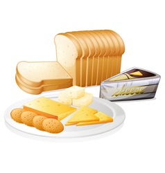 Sliced bread with cheese and biscuits vector image