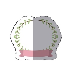 Sticker border with leaves and label vector