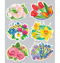 Stickers flowers vector image vector image