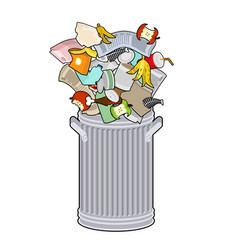 trash can with rubbish isolated wheelie bin with vector image vector image