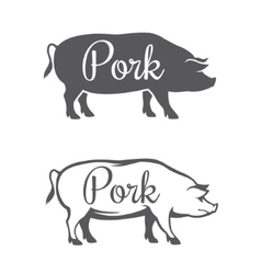 Two pork silhouettes vector