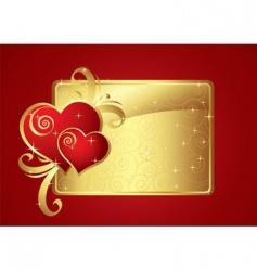 Valentine card gold v vector