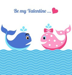 Valentine card with whales vector image