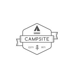 Vintage forest camping badge outdoor logo emblem vector