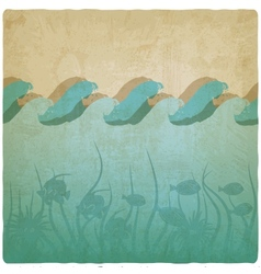 Vintage underwater background vector image vector image