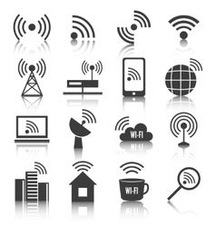 Wireless communication network icons set vector