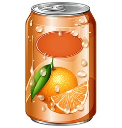 Orange juice in can vector image