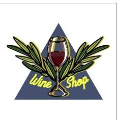 Color vintage wine shop emblem vector image