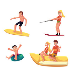 Set of people enjoying summer water activities vector