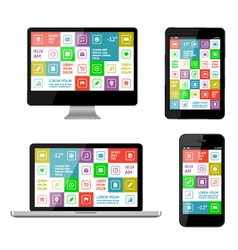 Isolated gadgets with ui and web elements vector image
