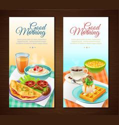Breakfast vertical banners vector