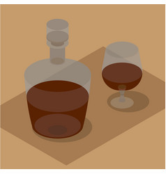 3d isometric bottle and wineglass with brandy vector