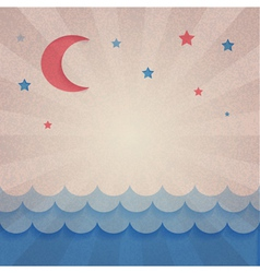 Retro background with moon and stars vector