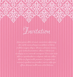 Pink damask invitation blank with a place for your vector