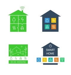 Set template logos eco-friendly house vector