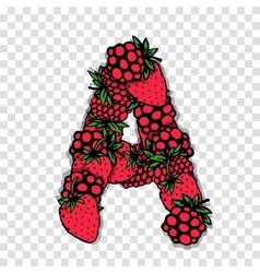 Letter a made from red berries sketch for your vector