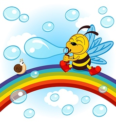 Bee on rainbow inflated bubbles vector