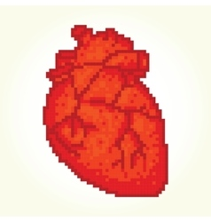Pixel art heart isolated vector