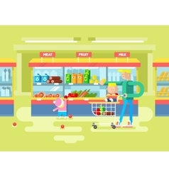 Supermarket design flat vector