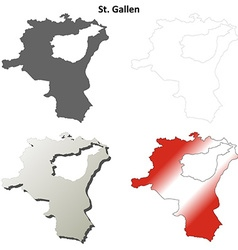 St gallen blank detailed outline map set vector