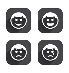 Circle smile face icons happy sad cry vector