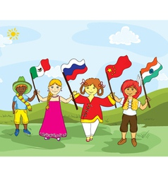 Kids with flags vector