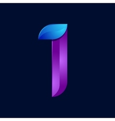 I letter volume blue and purple color logo design vector image