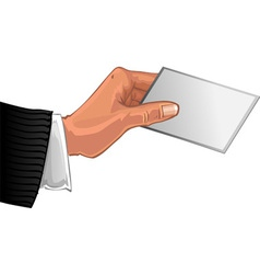 Mens hand with card vector