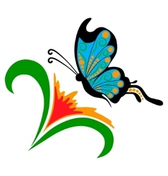 Doodle flower with butterfly vector