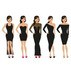 A set of evening dresses vector