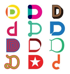 Abstract icons based on the letter D vector image vector image