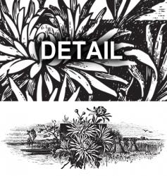 Antique landscape engraving vector