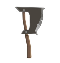 axe isolated icon blade wooden tool danger design vector image vector image
