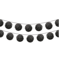 Black pom poms set on a string horizontal vector