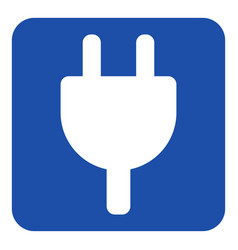 Blue white sign - electrical plug symbol icon vector