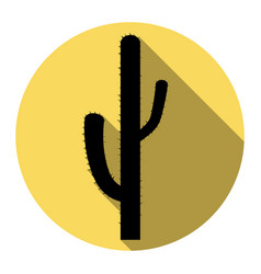 Cactus simple sign flat black icon with vector