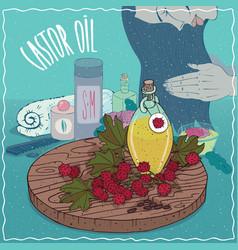 Castor oil used for hair care vector