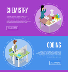 Chemistry and informatics studying at school vector