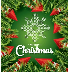 Christmas card with white snowflake on green vector image vector image