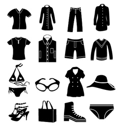 clothing icons set vector image vector image