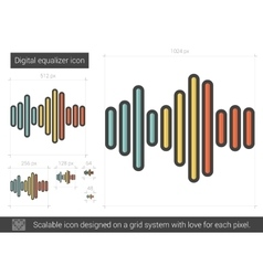 Digital equalizer line icon vector